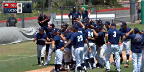 UC San Diego Tritons / men's baseball team celebrates on field after final win 5/22