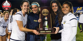 UC San Diego Triton Athletics - women's soccer senior champs hold their 2017 trophy - photo Andy Wilhelm