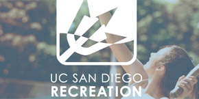 UC San Diego / tennis player serves, with overlaid UC SAN DIEGO RECREATION text logo