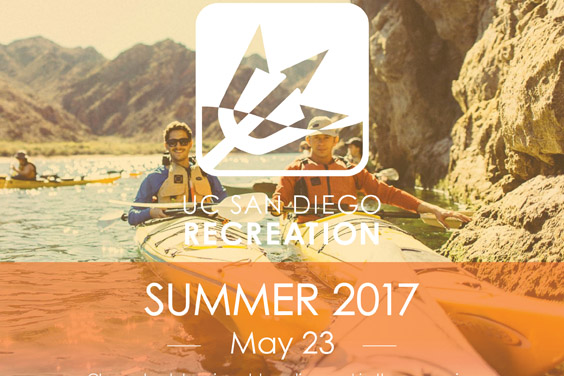 Student in kayak / UC San Diego Recreation logo and text