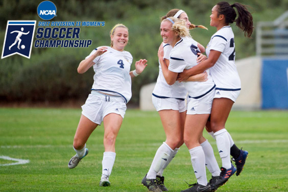UC San Diego women's soccer team - Tritons celebrate a win on the field
