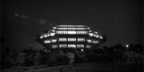 Geisel Library at night - black and white photograph