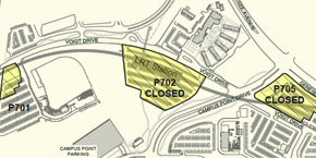 Small map showing parking lot closures / UC San Diego