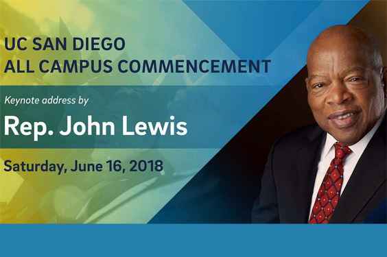 Rep. John Lewis - UC San DIego 2018 Commencement (photo portrait + text)