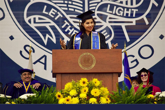 UC San Diego senior Lucero Camarena, 2018's student commencement speaker, encouraged fellow students to live their truth