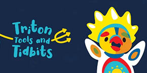 Text illustration with cute Sungod character - Triton Tools and Tidbits podcast logo