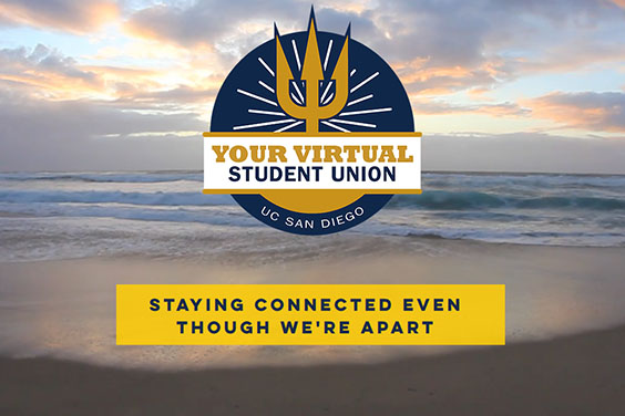UC San Diego Virtual Student Union - text logo with photo of beach/sea in background