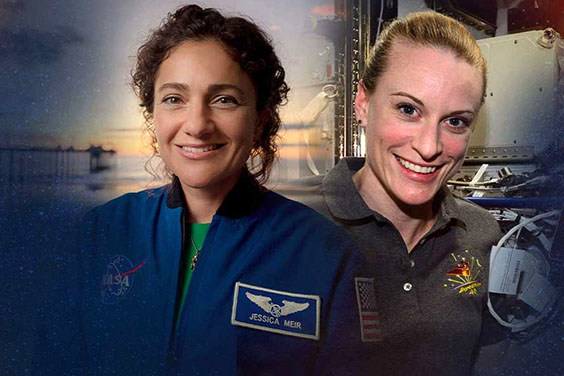 Montage of photographs - UC San Diego alumnae and NASA astronauts, Jessica Meir and Kate Rubins