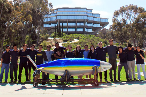 The UC San Diego human powered submarine team with the submarine they designed and built this year, named Vaquita / UC San Diego Engineering Dept