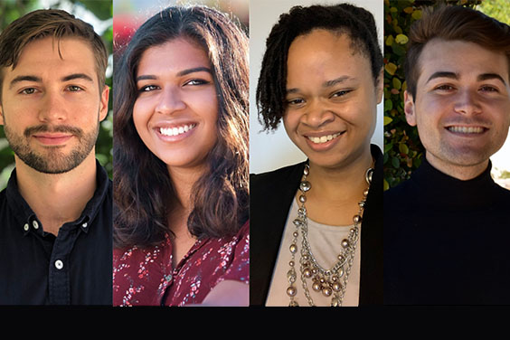 UC San Diego - portraits of four students, 2020 Undergraduate Library Research Prize winners