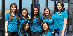 UC San Diego / CARE at SARC group of peer educators in matching teal shirts