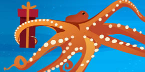 Birch Aquarium - illustration of octopus holding a wrapped gift