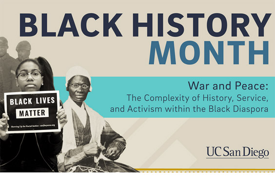 UC San DIego 2018 black history month collage of images and text
