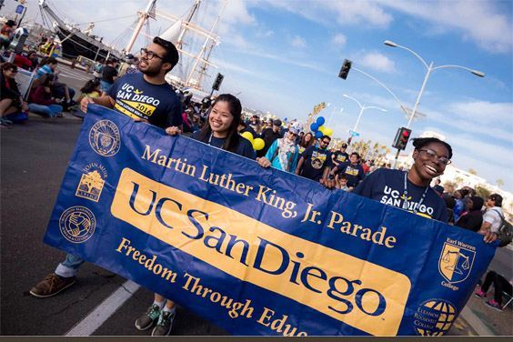 Students march in Martin Luther King Jr Parade / UC San Diego