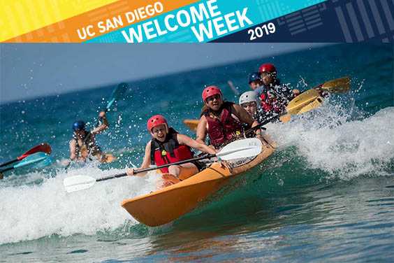 UC San Diego students surfing waves in a kayak - text overlay Welcome Week 2019