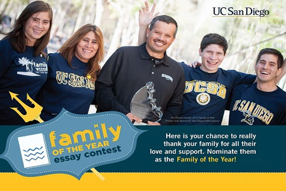 UC San Diego student with family at Family Weekend