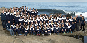 UC San Diego's 2017 track and field team, group photo at La Jolla Cove