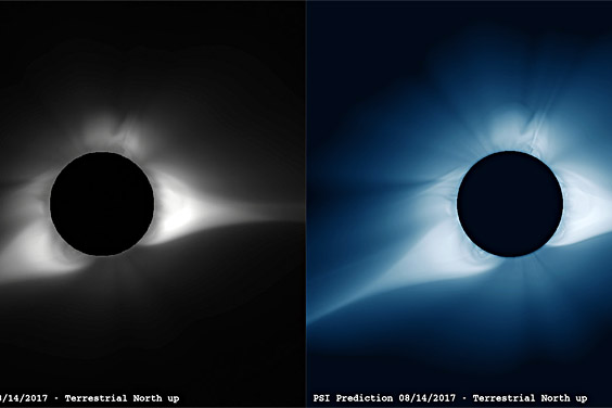 Two versions of solar eclipse models / mages courtesy of Predictive Science Inc