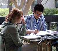 Students studying-writing