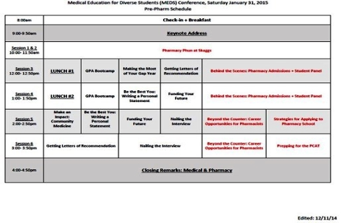 MEDS Pre-Pharm Schedule 2015