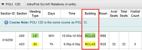 Screen shot example - UCSD Schedule of Classes, Remote lecture and discussion course listing