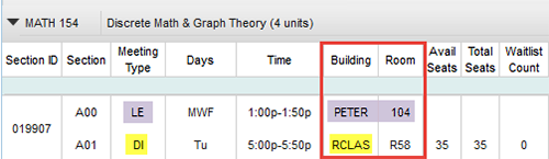 Screen shot example - UCSD Schedule of Classes, In-person lecture component and remote discussion component