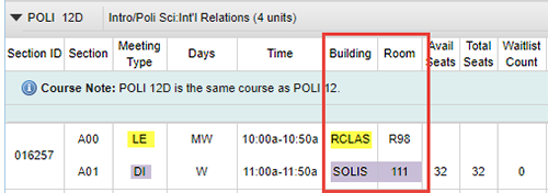 Screen shot example - UCSD Schedule of Classes, Remote lecture component and in-person discussion component