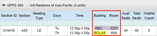 Screen shot example - UCSD Schedule of Classes, Course meets Tuesdays in-person and Thursdays remotely
