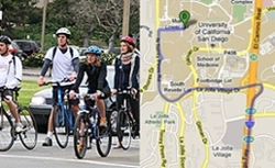 Commuter students (banner image, students biking, campus lounge)