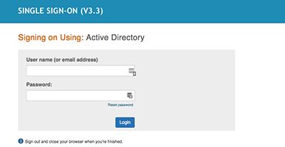 Screenshot of Active Directory / AD student login screen