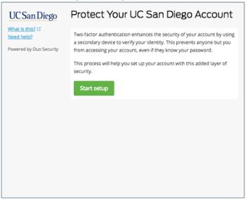 Screen shot of Duo registration screen