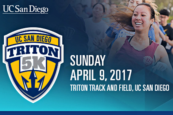 Triton 5K 2017 / April 9 / runner with text illustration / UC San Diego
