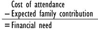Cost of attendance minus your expected family contribution equals financial need