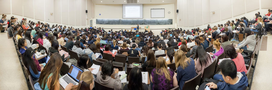 Students take notes during class in a UC San Diego lecture hall