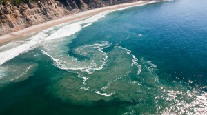 Aerial view of rip current